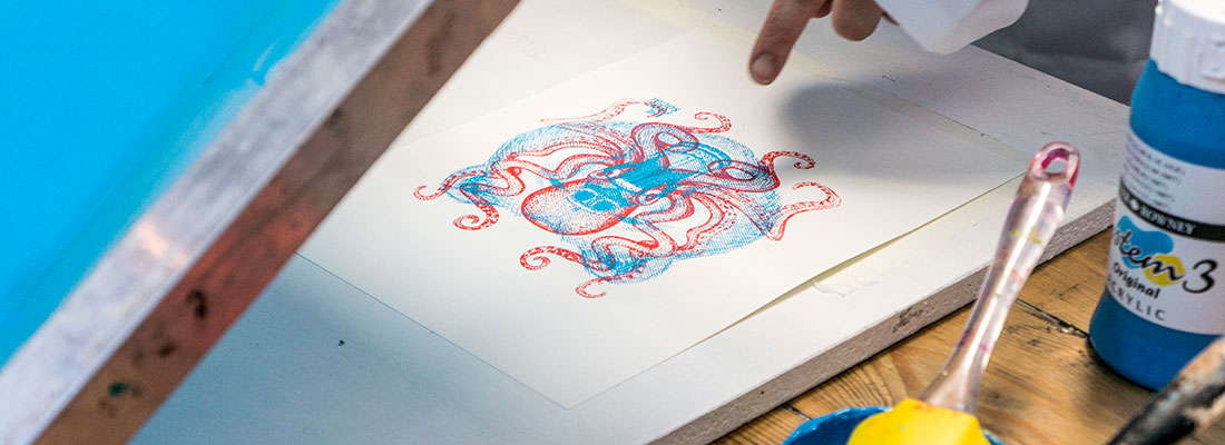 Screen printing workshop with The Print Social at Light Night 2016