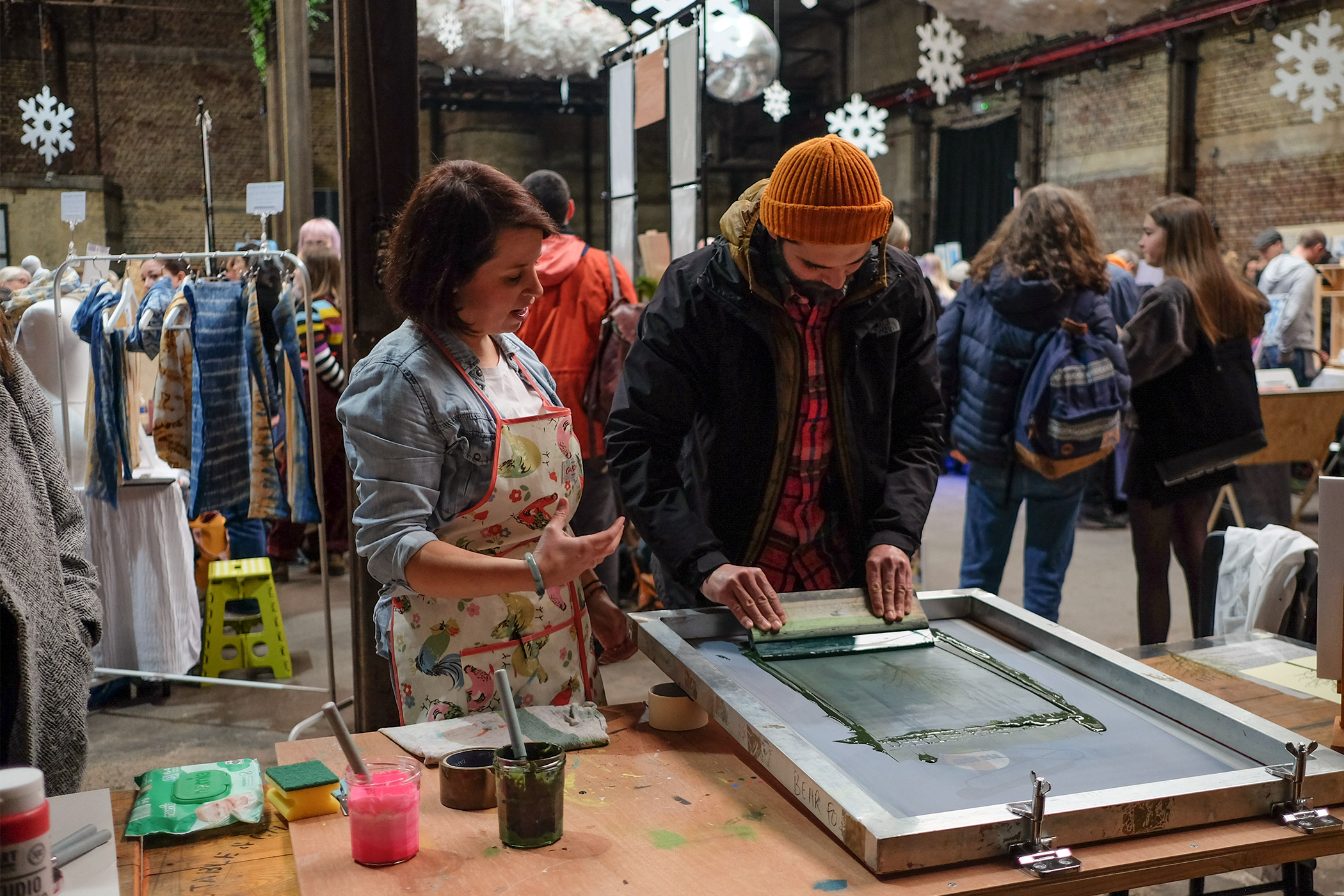 Screen Printing workshop with Bear Four at Liverpool Print Fair, Nov 2019