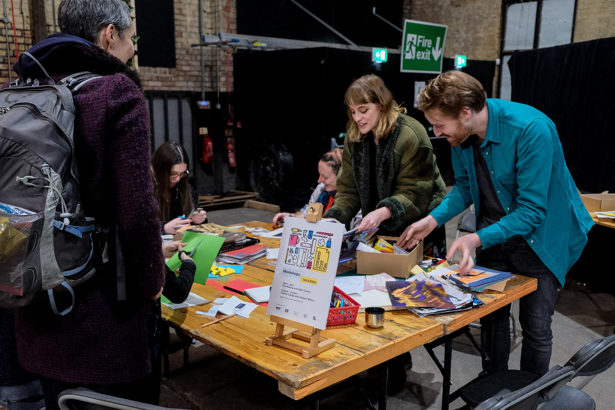 Collage Workshop with Johanna Wilson at Liverpool Print Fair, Nov 2019