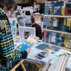 Angus Vasili's stall at Liverpool Print Fair November 2019