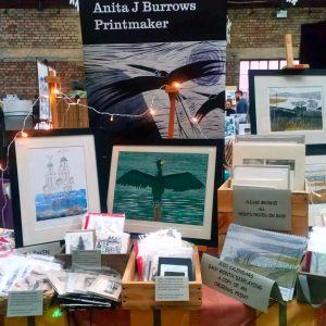Anita Burrow's stall at Liverpool Print Fair November 2019