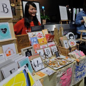 Doodleduck Design's stall at Liverpool Print Fair November 2018