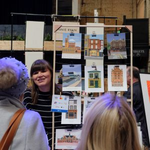 Elly Cotrill's stall at Liverpool Print Fair November 2019