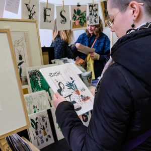 Holly Acland's stall at Liverpool Print Fair April 2019