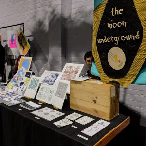 The Moon Underground's stall at Liverpool Print Fair November 2018